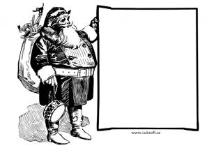 Černobílá jmenovka se Santa Clausem k vytištění