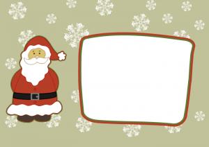 Samolepka, vánoční jmenovka se Santou k tisku