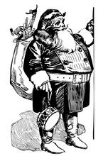 Černobílý Santa Claus