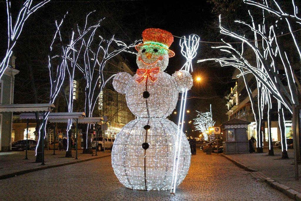 Venkovní vánoční osvětlení ve formě sněhuláka